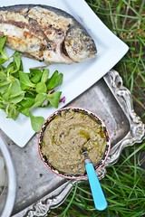 grill fish and bean pate (Zoryanchik) Tags: sea food fish cooking yellow dinner table lunch pepper cuisine salad lemon healthy colorful dish natural traditional rustic tasty plate fork vegetable fresh gourmet delicious meal vegetarian seafood appetizer buffet diet grilled fried nutrition
