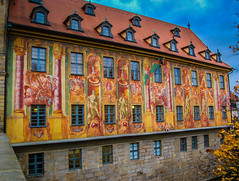 Altes Rathaus on the Obere Brcke in Bamberg Germany (mbell1975) Tags: world old city bridge building heritage river germany bayern deutschland town hall site cityhall mosaic over eu bamberg unesco german government townhall brcke rathaus altstadt oldtown deutsch whs altes bayer regnitz obere