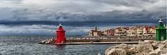Red +Green / Rood + Groen (jo.misere) Tags: red haven green water clouds pier rocks groen harbour wolken piran rood slovenie rotsen