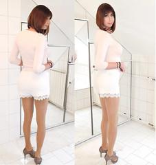 white lace shorts, light pink top, heels (Adrii Kiss) Tags: crossdresser transvestite