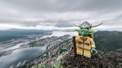Yoda Eriksson above Bergen (Reiterlied) Tags: norway lens landscape toy photography starwars nikon yoda angle lego wide sigma jedi minifig bergen dslr 1020mm viking ulriken minifigure uwa d5200 legography stuckinplastic reiterlied