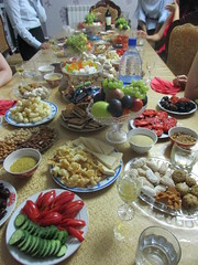 Food at a Kazakh house (eltpics) Tags: eltpics kazakhstan aqtobe aktobe sweet sweets dessert fruit meat vegetables salad cucumber nuts tomatoes bread traditional