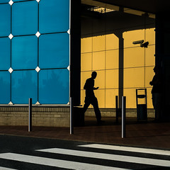 be there or be square (/ Georg /) Tags: dresden elbe park street silhouette be square blue yellow catchy color colour urban humaningeometry architecture modern reflection shadow streetphotography