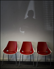 Chair #5 Red with Shadow (Garry Corbett) Tags: chairs shadowonthewall shadowslight red redchair abandoned groupofthree light office cgarrycorbett2016 bluejazzbuddha