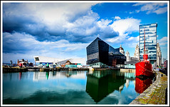 The Old and the New (Peter Leigh50) Tags: liverpool docks building ship water reflection sky clouds