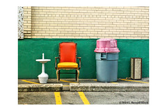 Break Out (TooLoose-LeTrek) Tags: chair waste lot parking yellowline parkinglot orange yellow pink blue