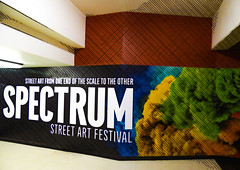 The Spectrum Street Art Festival (Steve Taylor (Photography)) Tags: streetart spectrum festival graphic corner art digital advert poster building black brown green cool newzealand nz southisland canterbury christchurch city cbd texture ymca