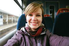 (SamBHart) Tags: 35mmfilm nikonfm2 35mm film kodakultramax400 kodak ultramax 400iso 24mmnikkor 24mm lens europe travel nikon london england uk train tube selfie selfportrait self winter smile happy