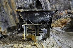 Wagonnet Decauville (flallier) Tags: mine asphalte bitume calcairesbitumineux wagonnet berline decauville concrtion calcite underground mining