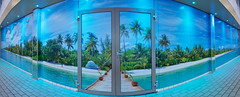 Panorama wall in Public Pool (Stan de Haas Photography) Tags: aquapark water indoors caribia slides leisure floor clear tile nobody activity park liquid wide new life deep swimming cupola ceiling stream poolside blowout dome relaxing wideangle holidays round waterpark training interior blue pool transparent edge turquoise health bottom tranquil vacation fountain aqua stairs staircase relaxation glass freshness standehaas merwestein panorama pano gigapanorama gigapan