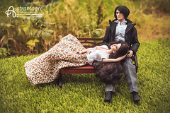 Katsuo and Agnes (astramaore) Tags: nu face agency agnes takeo mix regal estate brunet brunette bench summer coat mizutani weiss 16 fashion royalty doll toy handsome male model love long hair affair lovestory story relations relationship couple pair astramaore