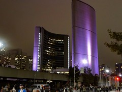Nuit Blanche City Hall (euanwhite) Tags: nuitblanche nuit blanche toronto city hall lights purple architecture