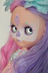 Sacred Heart Calavera  (lolidolicustoms) Tags: blythe doll ooak custom commission lolidoli calavera dead eyechips purple pink takara