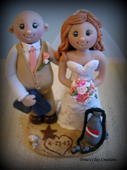Beach Wedding Cake Topper (Trina's Clay Creations) Tags: dog seashells starfish blacklab caketopper fins beachwedding swarovskicrystals weddingcaketopper customcaketopper diveflag trinaprenzi trinasclaycreations
