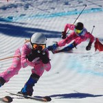 U14 Provincials, Silver Star - Anna Gosney and Katie Fleckenstein in ski cross course PHOTO CREDIT: Steve Fleckenstein