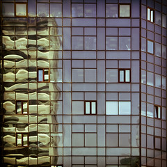 reflections (morbs06) Tags: blue windows light abstract colour glass lines architecture facade reflections turkey square stripes istanbul cladding curtainwall