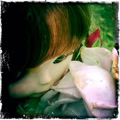 the second thing she did when she got here was go out to smell the roses