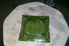 Green Square Dish back (Chipmunk Hill Arts) Tags: original art ceramics artist handmade w clay bloomingtonindiana katiewolfe chipmunkhillarts