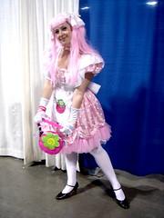 Pretty in pink! (whitenylonfan) Tags: pink white cute girl hair high hug shoes dress legs jane sweet girly character mary tights skirt sugar apron kawaii heels pantyhose glomp genki