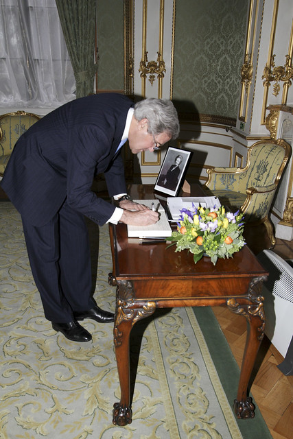 Secretary Kerry Signs Condolence Book for Former British Prime Minister Thatcher