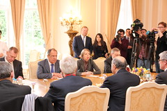 France-Russia bilateral meeting (Embassy of France in the UK) Tags: uk france london french russia international syria change mali foreign russian climate minister global g8 affairs diplomatic diplomacy diplomat dprk fabius bilateral lavrov