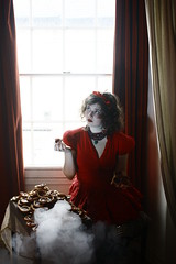 The Knave of Hearts (Samara May Knight) Tags: light red woman window girl beautiful fairytale hearts pretty natural smoke curtain nursery queen dreamy colourful jam jewels tarts rhyme knave