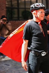 Bobke wears a cape (Richard Masoner / Cyclelicious) Tags: sanfrancisco red turbo specialized ebike pedalec