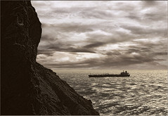 Heading Towards the Golden Gate. (Romair) Tags: seascape marinheadlands tanker stormyseas rogerjohnson topazadjust sliderssunday magnificentmanipulatedmasterpieces topazbweffects21