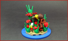 Damn! That's some nasty crab grass... (Karf Oohlu) Tags: lego crab minifig vignette crabgrass moc