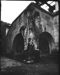 Dragon (WPPD 2013) (So gesehen.) Tags: park bw film water fountain schweiz switzerland diy dragon lofi pinhole zrich largeformat pinholeday wppd 4x5pinholecamera homemadepinholecamera iso6 traydeveloped directpositivepaper villatobler wppd2013