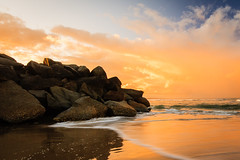 Cotton Candy Sunset (Matthew Post) Tags: ocean sunset seascape storm beach squall river rocks waves post matthew australia queensland noosa groyne rockwall noosariver matthewpost