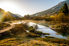 Sunrise (Karmen Smolnikar) Tags: morning mountains nature water sunrise river wooden path slovenia slovenija sava dolinka zelenci