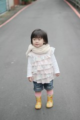 On the way to eat lunch (Zorie Huang) Tags: morning light portrait baby cute girl smile canon asian kid infant child innocent taiwan lovely taiwanese oneyearold rainboots streetsnap zorie