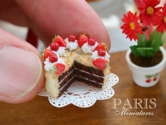 Chocolate cake decorated with cherries, strawberries and Chantilly cream - Miniature Food (Paris Miniatures) Tags: cake cherry strawberry chocolate caramel slice minifood layercake dollhouse miniaturefood 12thscale polymerclayfood
