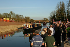 The First Boat to Through. The Grand Re-Opening Ceremony after the Breach at Dutton Hollow, Trent and Mersey Canal. (Martin Peers) Tags: canal potential narrowboat waterway bridgewatercanal breach trentandmerseycanal prestonbrook canalandrivertrust duttonbreach narrowboatpotential