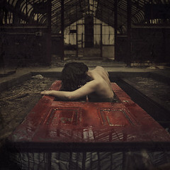 phoenix (brookeshaden) Tags: old red abandoned phoenix swimming lost photography rising alone factory reddoor haunted creepy greenhouse derelict sinking struggle darkphotography fineartphotography reborn darkart conceptualphotography abandonedgreenhouse womaninwater brookeshaden