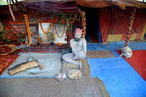Naga sadhu and his dog - Maha Kumbh Mela