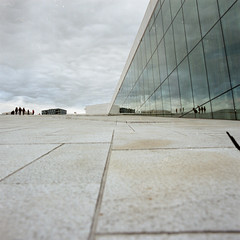 Oslo opera house (erikaflugge) Tags: white film oslo norway architecture mediumformat reflections grey shapes angles hasselblad oslonorway colorfilm kodakportra400 mediumformatfilm hasselblad500c oslooperahouse
