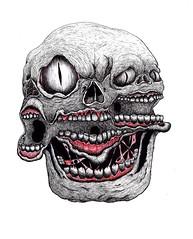 3 CARAS (Asem-Uno.) Tags: illustration skull crneo calavera monster gore hell haill sketch sketchgore