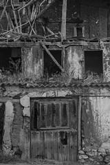Rural things dying (ponzoosa) Tags: soria burgos castillejo robledo ruinas portn puerta bn bw blancoynegro rural