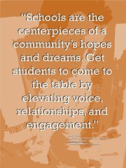 "Educational Postcard: ""Schools are the centerpieces of a community's hopes and dreams. Get students to come to the table by elevating voice, relationships, and engagement."" (Ken Whytock) Tags: schools quote quotation centerpieces community hopes dreams students table elevating voice relationships engagement educators teachers"