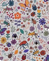Butterflies, beetles & blooms - grey (Cecca W) Tags: surfacepattern fabric repeatpattern patterndesign pattern spoonflower
