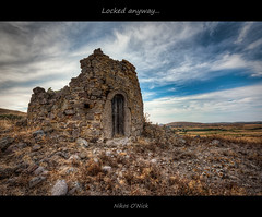 Locked Anyway... (Nikos O'Nick) Tags: nikos kotanidis nick onick nikon d810 nikkor 1424mm hdr manfrotto tripod 055xporb ball head 498rc2 lemnos island hellas greece aegean north kallithea sarpi old mill ruins relics locked door               sky clouds limnos