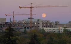 Full Moon & Cranes (Gerry Marchand) Tags: olympus omd moon full fullmoon crane hospital childrenshospital royaluniversityhospital saskatoon saskatchewan canada dusk