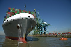 Manchester Bridge DST_5907 (larry_antwerp) Tags: psa psaterminal noordzeeterminal manchesterbridge kline boeg bow 9706748 antwerp antwerpen       port        belgium belgi          schip ship vessel        schelde