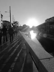 Sunset (ste.piccoli) Tags: milan summer bw darsena sunset water