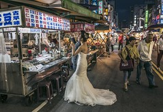 bride in night market (MissingBeagle) Tags: bride night market    fujifilm xt2 xf 18mm f2 r