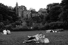 Belvedere Castle, Central Park (L A Nolan) Tags: fuji fujifilm fujifilmxpro2 newyork newyorkcity newyorknewyork ny nyc thebigapple xpro2 fujinon xf 35mm f2 ~50mmequiv fujinonxf35mmf2 50mmequiv belvederecastle centralpark people couples lake pond grass trees men women
