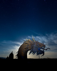 Serpent in the Moon Rising (JoeyDPhoto) Tags: anza night anzaborrego springs clouds dark sky desert exposure hot long shutter metal milkyway moon nikon nikond4 sand sculpter serpent speed star stars anzaborregosprings darksky longexposure longshutter