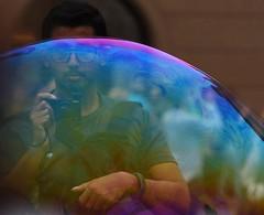 BUBBLE  IMAGE By Angela Wilson (angelawilson2222) Tags: portrait camera photo image male man bubble colour art artistic refelection reflection view prague czech republic nikon angela wilson